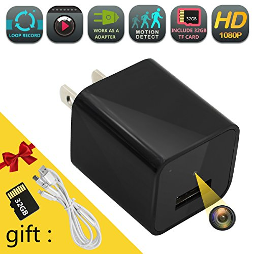 CAMXSW Wall Charger Camera USB Camera HD 1080P Nan...