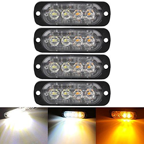 4PCS Ultra Thin Amber&White 4LEDs Warning Emergency Caution light Flash Strobe Light Bar Surface Mount For Car Van Truck Jeep Pickup,Motorcycle