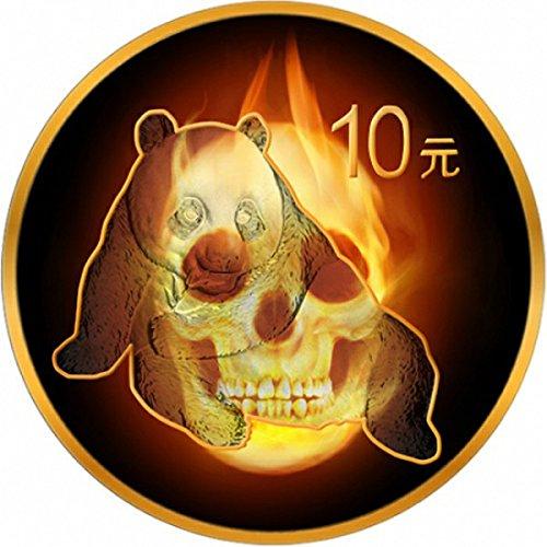 (2015 CN Burning Skull PowerCoin BURNING PANDA SKULL Fire Black Ruthenium Gold 1 Oz Silver Coin 10 Yuan China 2015 BU Brilliant Uncirculated)