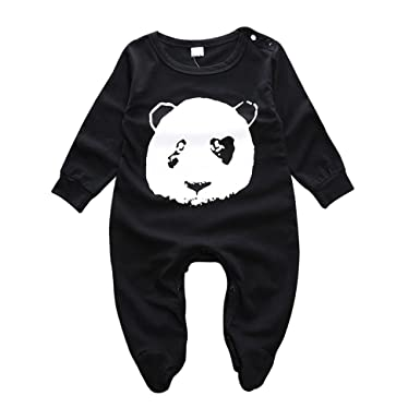 MIFASOO Panda Printed Baby Rompers Full Sleeve Cotton Baby Pajamas Newborn Baby Girls Boys Clothes