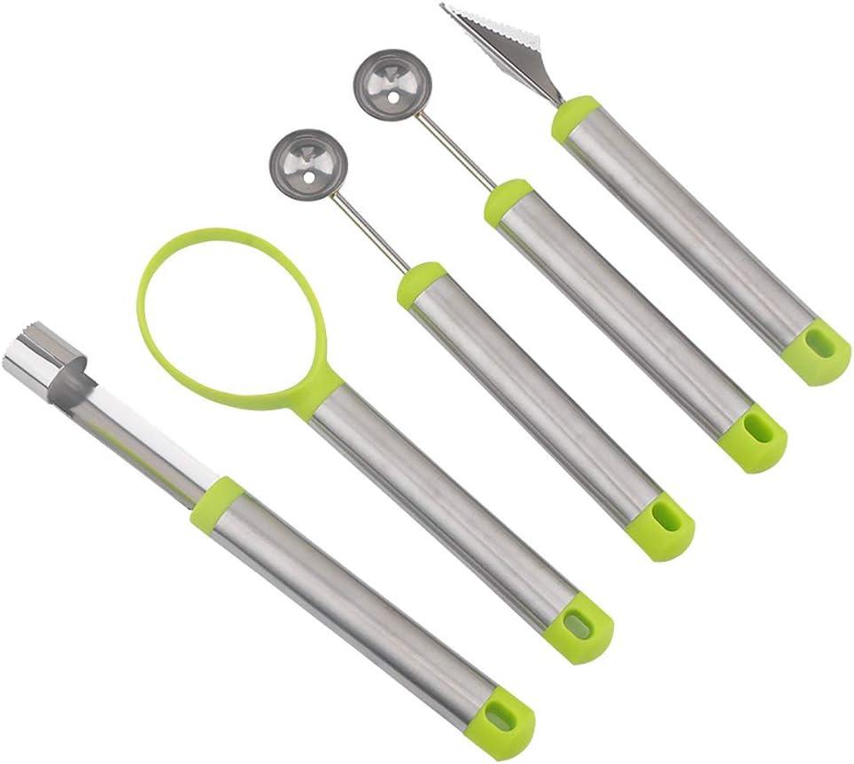 TAECOOOL Juego de herramientas para frutas 5 en 1 de acero inoxidable de grado alimenticio, quita el núcleo de manzana, pelador de melones, cuchillo para trinchar frutas, cortador de bolas de sandía