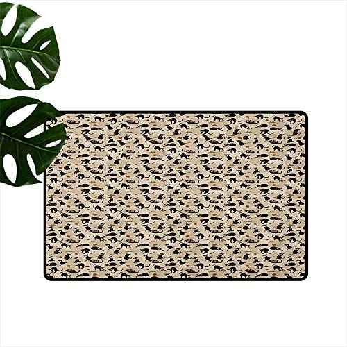 Cat Bathroom Suction Door mat Hand Drawn Feline Pattern House Pet Playing with Mouse and a Ball of Yarn Anti-Fading W31 x L47 Black Tan Sea Green