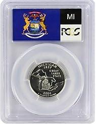 2004 Michigan State S Silver Proof Quarter PR-69 PCGS