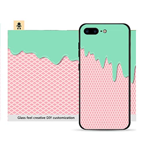 iPhone 7p / 8p Ultra-Thin Phone case Sweet Lemon Mint Cream Flavor ice Cream Texture Layer Melted on Strawberry Wafer Texture Resistance to Falling, Non-Slip, Soft, Convenient Protective case