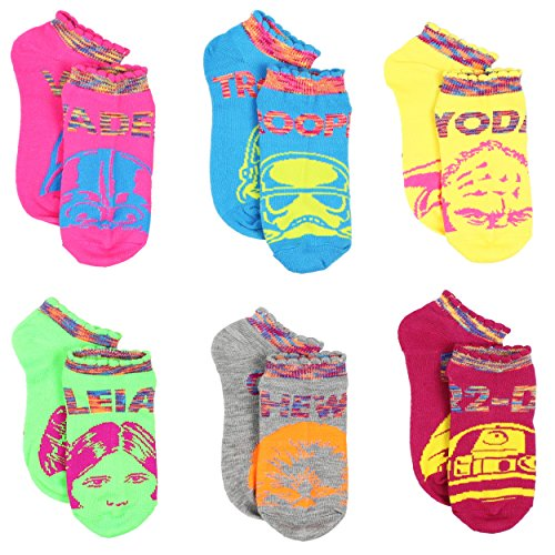 Star Wars Girls and Women's 6 pk Ankle Socks (6-8 Youth (Shoe: 10.5-4), Neon Star Wars)