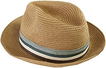 ba4166a7cb6 August Hat Co. Women s  18450 Stripe Band Fedora Straw Hat One Size