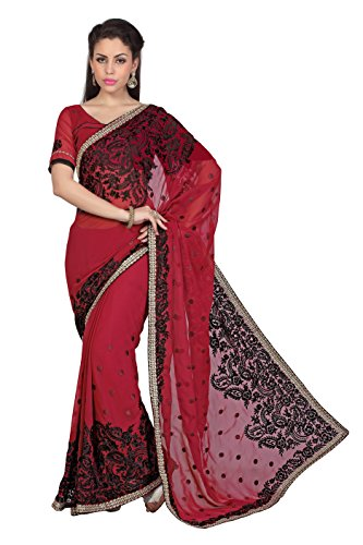 Faux Georgette (Bollywood Women's Indian Ethnic Designer Maroon color Faux Georgette Party Wedding Sari With saree Blouse Unstitched)