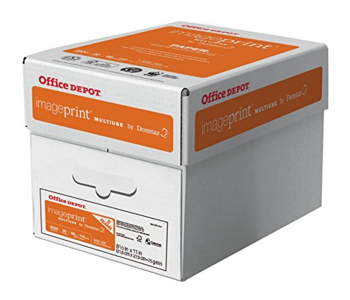 Office Depot ImagePrint FSC Certified Multiuse Paper by Domtar, 8 1/2in x 11in, 20 Lb, White, 500 Sheets Per Ream, Case Of 5 Reams, 1914