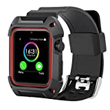 An Store Apple Watch 2 Case, Rugged Protective TPE Case with Strap Bands for Apple Watch 42mm Series 2 Series 1 2016 Sport Edition(Red)
