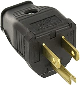 Leviton 3W101-E 2-Pole 3-Wire Grounding Plug, 10-Pack, Black