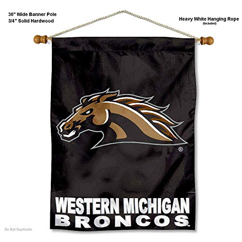 - College Flags and Banners Co. Western Michigan Broncos Banner with Hanging Pole