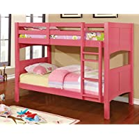 Furniture of America Benny Twin-Twin Bunk Bed, Pink