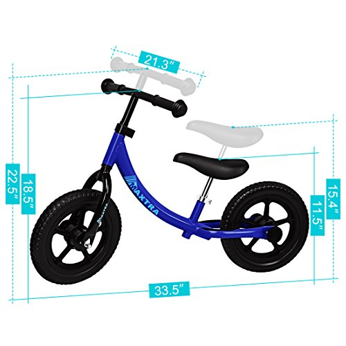 Maxtra Lightweight Balance Bike No Pedal Bicycle Adjustable Handlebar and Seat for Ages 2 to 5 Year Old Dark Blue by Maxtra (Image #1)