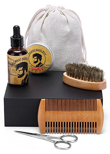 Father Day's Gift Premium Quality Beard and Moustache Grooming Kit-Beard Grooming and Trimming Set for Men Care-Viking Oil, Balm, Comb, Scissors, Board Bristle Brush- Travel Bag & Wooden Box