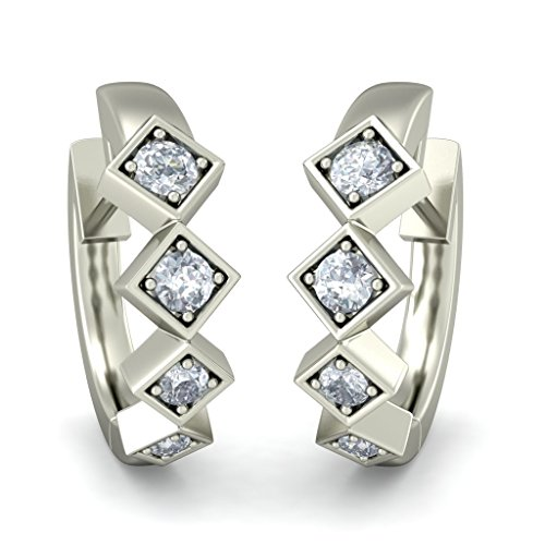 18 K Or Blanc 0,21 CT TW Round-cut-diamond (IJ | SI) Boucles d'oreilles créoles
