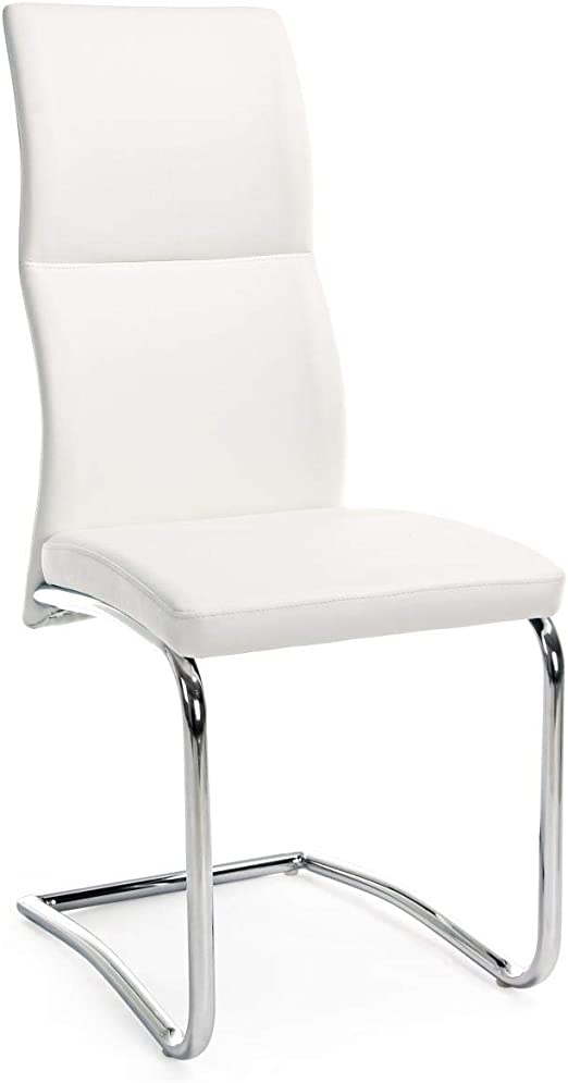 ARREDinITALY Lot 4 chaises Pieds Luge Assise Simili Cuir