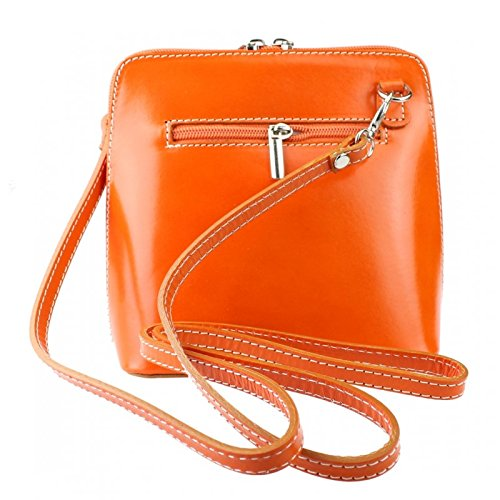 Bag Bag Orange Pelle Shoulder Genuine or Mini Vera Body Italian Leather Cross wqq0ZvP
