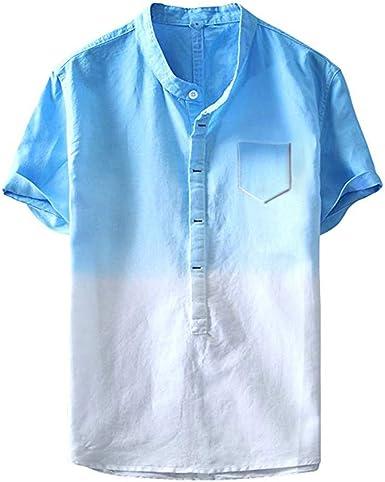 Camisa Hombre Verano Algodón y Lino Manga Corta Camiseta Moda ...