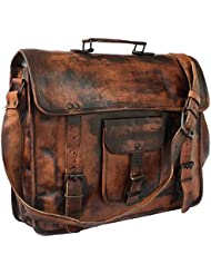 DHK Leather Vintage 15 Inch Laptop Messenger Bag briefcase Satchel for Men and Women