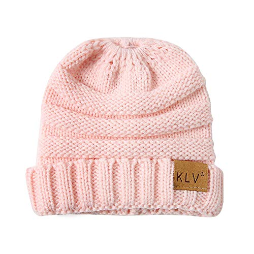 NRUTUP Knit Hats Unisex Soft Stretch Cable Knit Beanie Cuffed Ponytail .Winter Warm Hats Knit .(Pink,Free Size) -