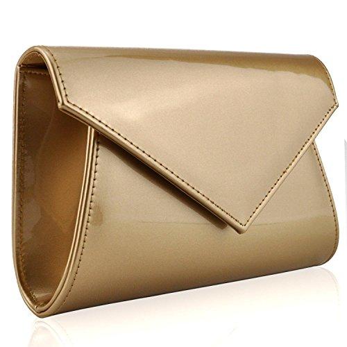 Xardi London - Bolso de mano mediano para mujer de charol brillante, para fiesta, con forma de cartera tipo sobre dorado