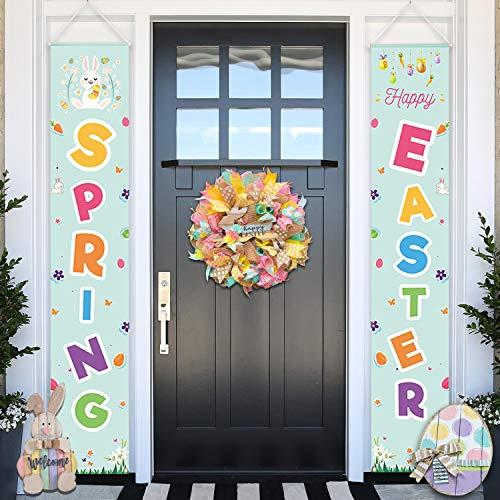 (Easter Decorations - Happy Easter & Spring Porch/Front Door Sign - Easter Banners - Easter Door Decorations Indoor Outdoor)