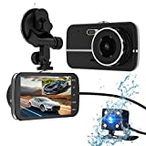 Dash Cam,Bekhic Dash Camera for Cars with Full HD 1296P Front and 720P Rear 290 Degree Super Wide Angle Dual Cameras, 40 IPS Screen,LDWS,Reverse Image,G-Sensor, Night Vision, WDR, Parking Guard etc