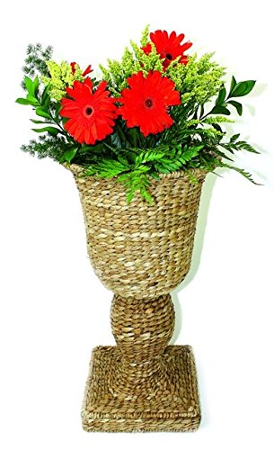 Woven Seagrass Urn Planter   Plant Basket Indoor Outdoor