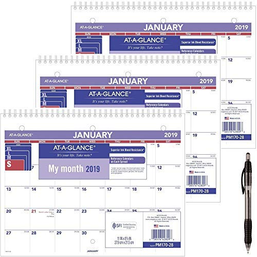 AT-A-GLANCE PM17028-18 Monthly Desk/Wall Calendar, January 2019 - December 2019, 8-1/2