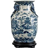 Home decor. Blue and White Oriental Willow Vase. Dimension: 8 x 8 x 12. Pattern: Blue Willow.
