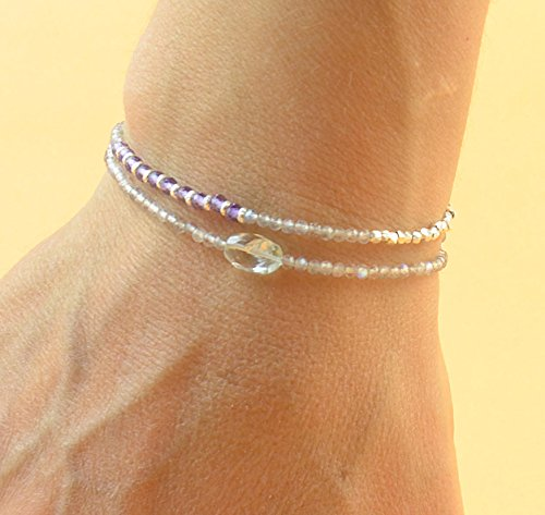 Double strand multi gemstones and sterling silver beads bracelet.Dainty bracelet.Wrap.Amethyst,Labradorite,Aquamarine and Sterling silver (Aquamarine Strand Bracelet)