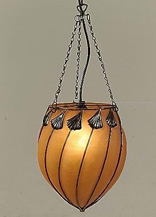 Naeve Leuchten 724298 Orient - Lámpara de techo (cristal y cristal, 1 bombilla E27, 60 W, 39 x 30,5 x 30 cm), diseño oriental, color naranja