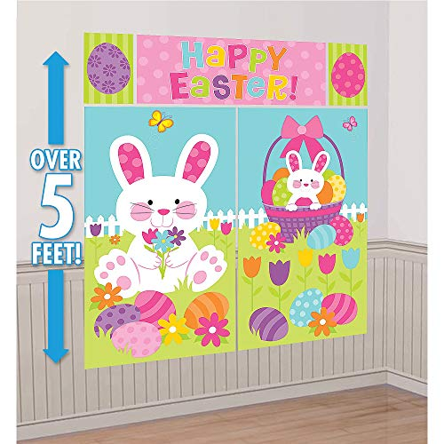 Amscan 670298 Bunny and Egg Wall Decoration, Multisizes, Multicolor
