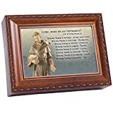 Cottage Garden St. Francis Prayer Wood Finish Jewelry Music Box Plays Great is Thy Faithfulness