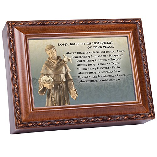 Cottage Garden St. Francis Prayer Filigree Statue Wood Finish Jewelry Music Box Plays Great is Thy Faithfulness (Prayer Of St Francis Of Assisi Music Sheet)