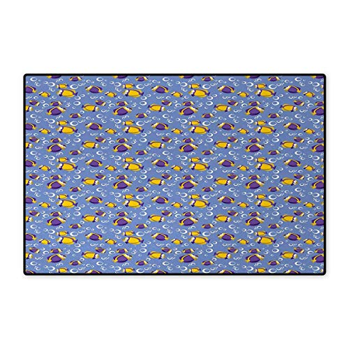 Lhasa Tank - Yellow and Blue,Doormat,Swimming Fishes Aquarium with Bubbles Underwater Wildlife Pattern,Bath Mat for Tub,Purple Yellow Blue 20
