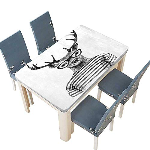PINAFORE Polyester Tablecloth Collection Dressed Up Deer Reindeer Headed Human Hipster Style with Glasses Striped Shirt Easy Care Spillproof W33.5 x L73 INCH (Elastic Edge)