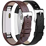 Tobfit Compatible for Fitbit Alta HR and Alta Leather Replacement Bands [2 Pack], Black, Coffee Brown, 5.5''-8.1''
