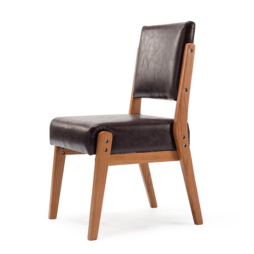 レストランの椅子のオフィスのベッドルームリビングルームの夕食木製の脚PUクッションモダンシンプルな北ヨーロッパのラウンジ (色 : ダークブラウン, サイズ さいず : Set of 2) B07DZS67DC Set of 2|ダークブラウン ダークブラウン Set of 2