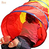 6-Feet Folding Kids Play Tunnel Tube, Indoor Outdoor Pop Up Tunnel Play Tent Toy for Two Children Crawling Play Tents Playhouse(Colorful)