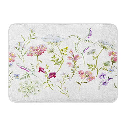 """Emvency Bath Mat 18"""" x 30"""" Flannelette Fabric Soft Absorbent Watercolor Floral Pattern Delicate Flower Wildflowers Pink Tansy Pansies White Cozy Decorative Non-Slip Memory Bathroom Rug"""