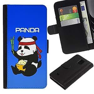 UNIQCASE - Samsung Galaxy S5 Mini, SM-G800, NOT S5 REGULAR! - Cute Panda Kung Fu Karate Meal - Cuero PU Delgado caso cubierta Shell Armor Funda Case Cover