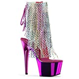 Pleaser Adore-1017RSF Exotic Dancer, Clubwear Ankle Hi Sexy Platform Boot. Clr-Multi/Fuchsia Chrome Size 11