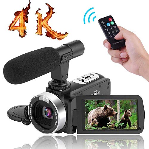 "4K Camcorder Video Camera,Vlogging Camera for YouTube 30MP Digital Camera 3.00"" Touch Screen Night Vision Pause Function with Microphone"