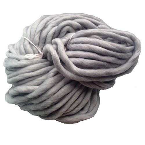 Zituop Super Chunky Roving Big Yarn for Hand Knitting Crochet, 250g, 8.8 Ounze (Light Grey) Chunky Crochet Yarn