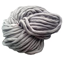 Zituop Super Chunky Roving Big Yarn for Hand Knitting Crochet, 250g, 8.8 Ounze (Light Grey) by Zituop
