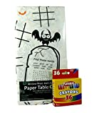 Kids' Coloring and Activity Halloween Tablecloth Bundle - 2 Items: 1 Halloween Tablecover, 1 Box of 36 Crayons