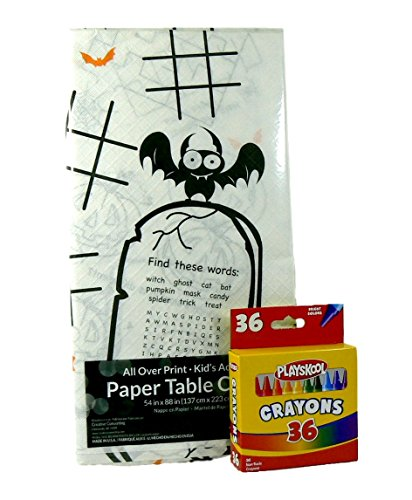 Kids' Coloring and Activity Halloween Tablecloth Bundle - 2 Items: 1 Halloween Tablecover, 1 Box of 36 Crayons by Combined Brands