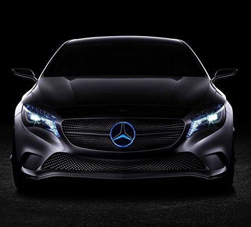 Bearfire LED Emblem Logo Grid LED Badge Front Light For Mercedes Benz A/B/C/CLS/E/GLK/GL/R Series (blue, not transparent grid) ()