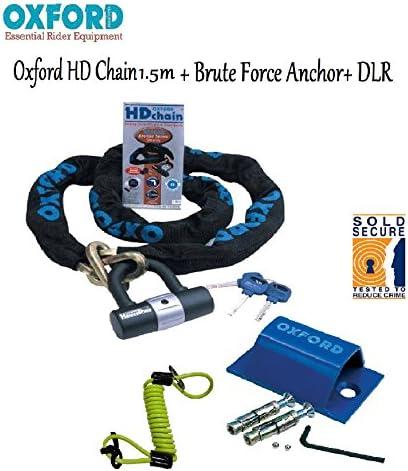 DLR MOTORBIKE SECURITY KIT OXFORD SCREAMER ALARM DISC LOCK With Grid Anchor /& Grid Sabre 1.8CM Heavy Duty Chain Lock